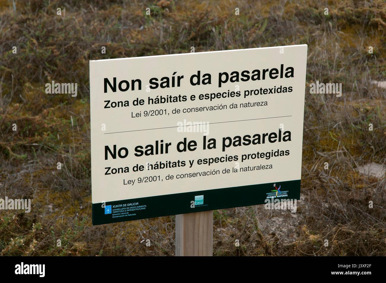 Natural Park Dunas de Corrubedo y Lagunas de Carregal y Vixan-Spanish and Galician poster, Olveira, Ribeira, La - Stock Image