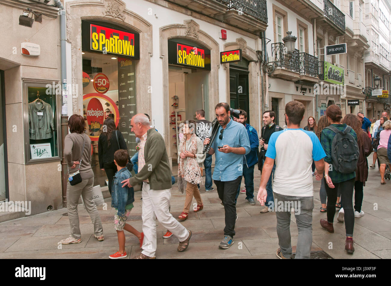 Pedestrian street and people, La Coruna, Region of Galicia, Spain, Europe - Stock Image