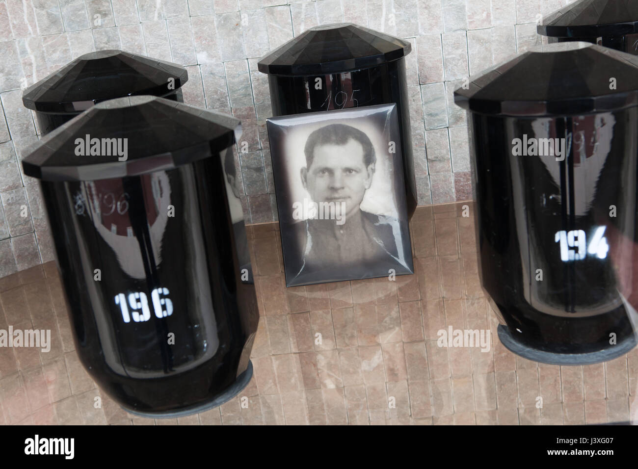 Funerary urns of Bohemian crystal glass containing the ashes of Soviet military officers fallen during World War - Stock Image