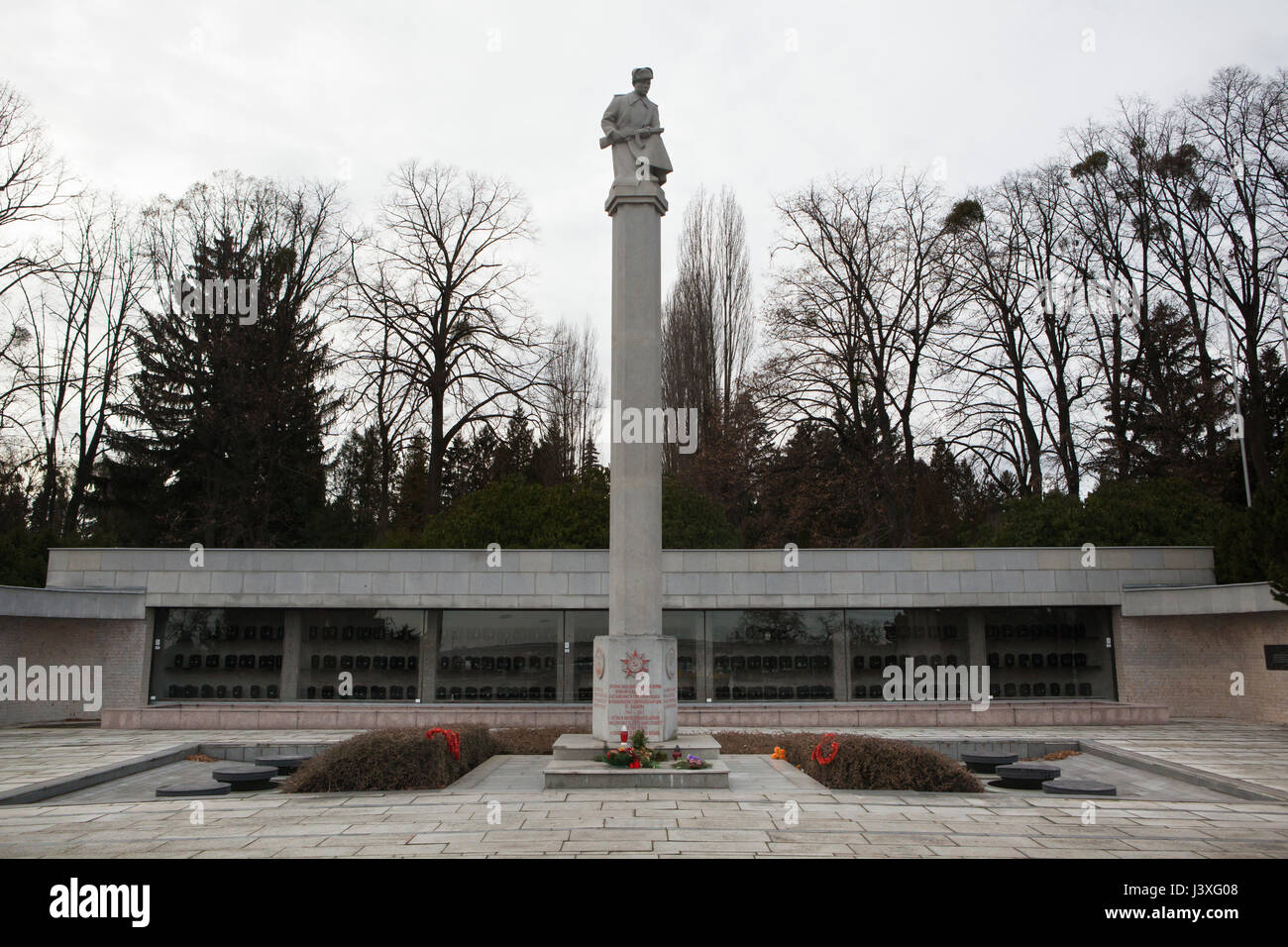 Soviet War Memorial at the Central Cemetery in Brno, Czech Republic. - Stock Image