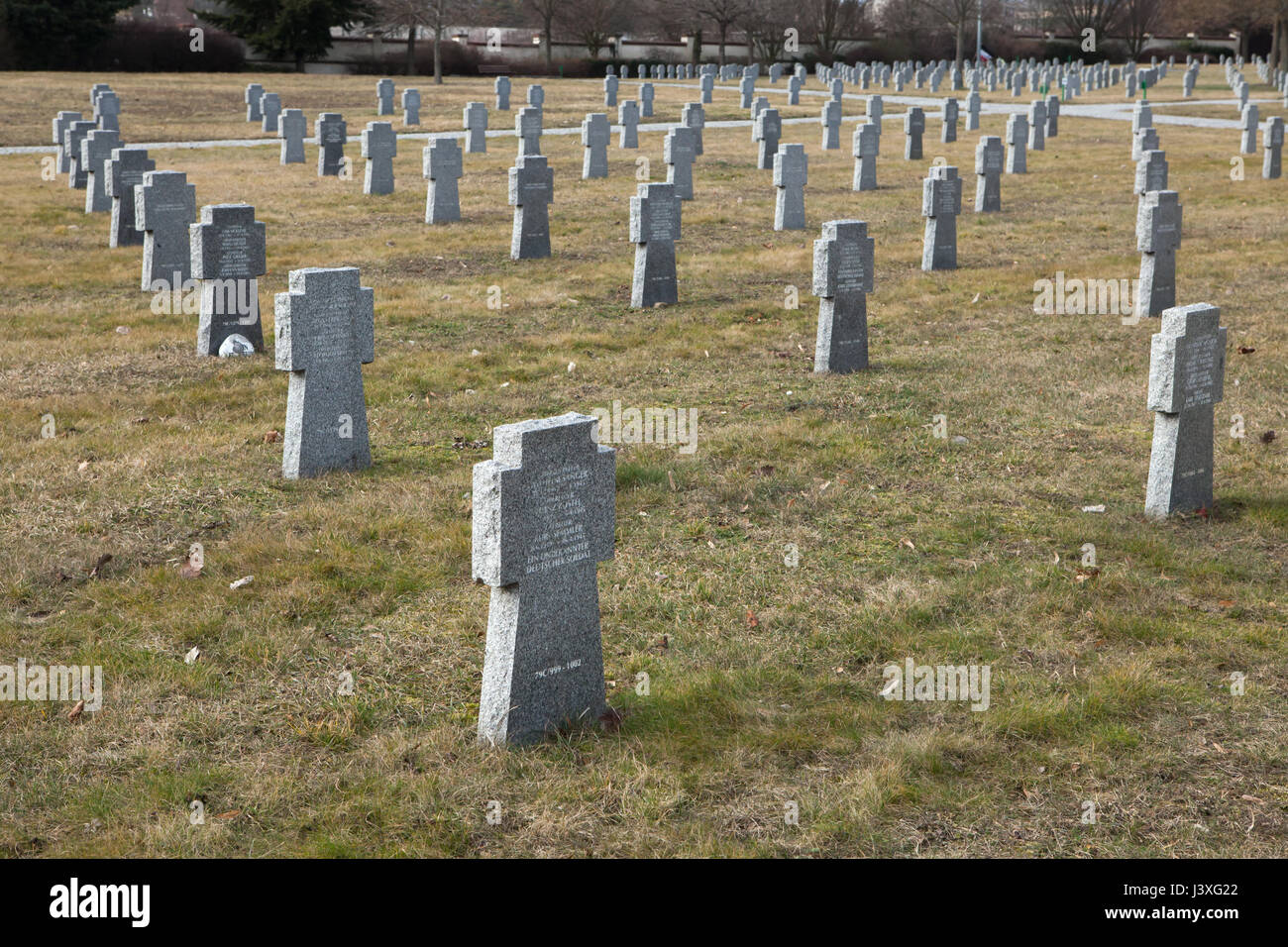 Graves of German Nazi soldiers on the ground of the German War Memorial at the Central Cemetery in Brno, Czech Republic. - Stock Image