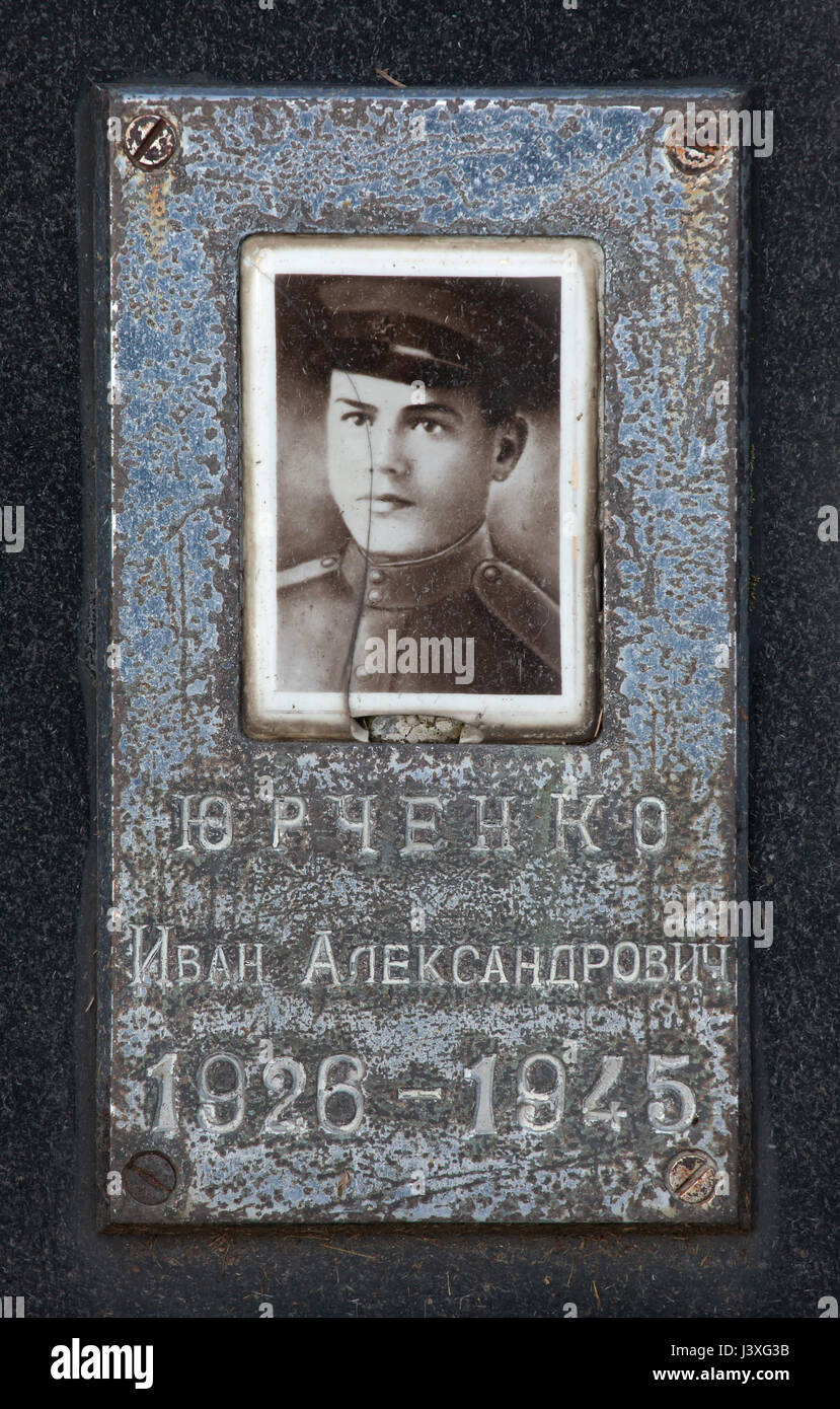 Photograph of Soviet military officer Ivan Yurchenko on the ground of the Soviet War Memorial at the Central Cemetery Stock Photo