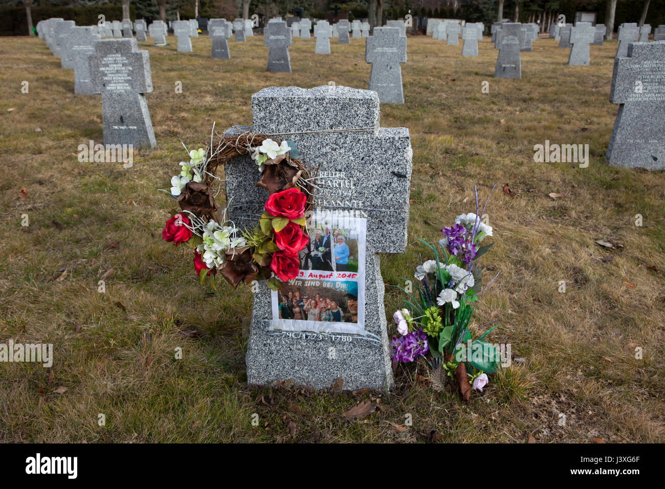 One of the graves of German soldiers on the ground of the German War Memorial at the Central Cemetery in Brno, Czech - Stock Image