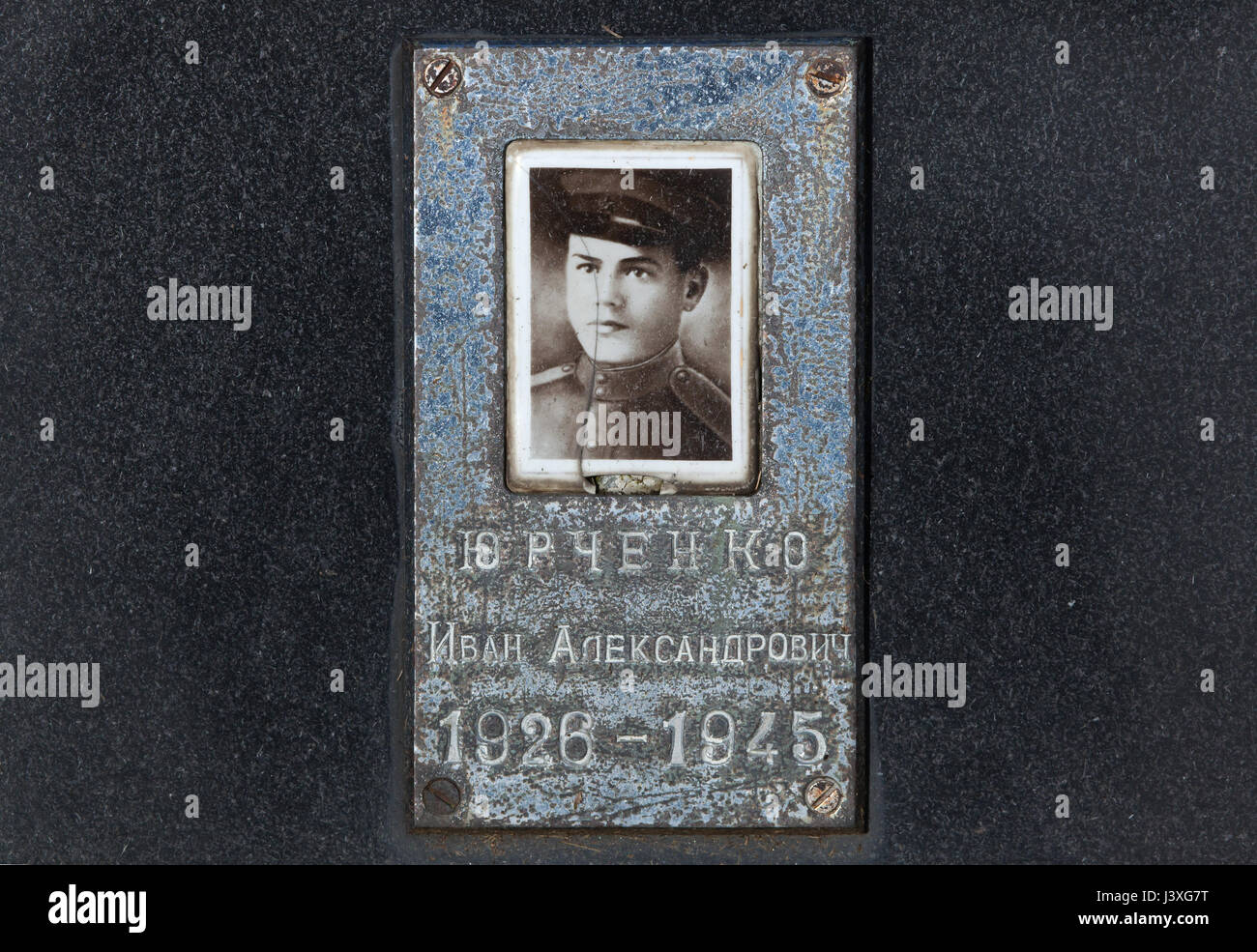 Photograph of Soviet military officer Ivan Yurchenko on the ground of the Soviet War Memorial at the Central Cemetery - Stock Image