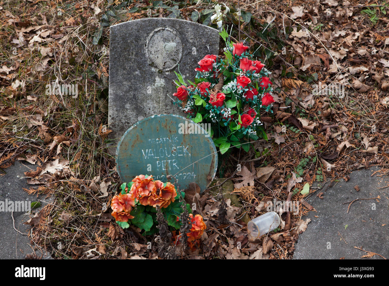 Abandoned grave of Czech corporal Peter Valoušek (1902-1924) on the ground of the Czech War Memorial at the Central - Stock Image