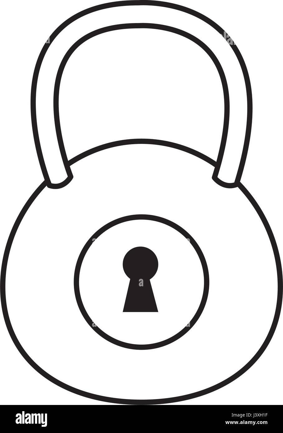padlock security lock safety line - Stock Vector