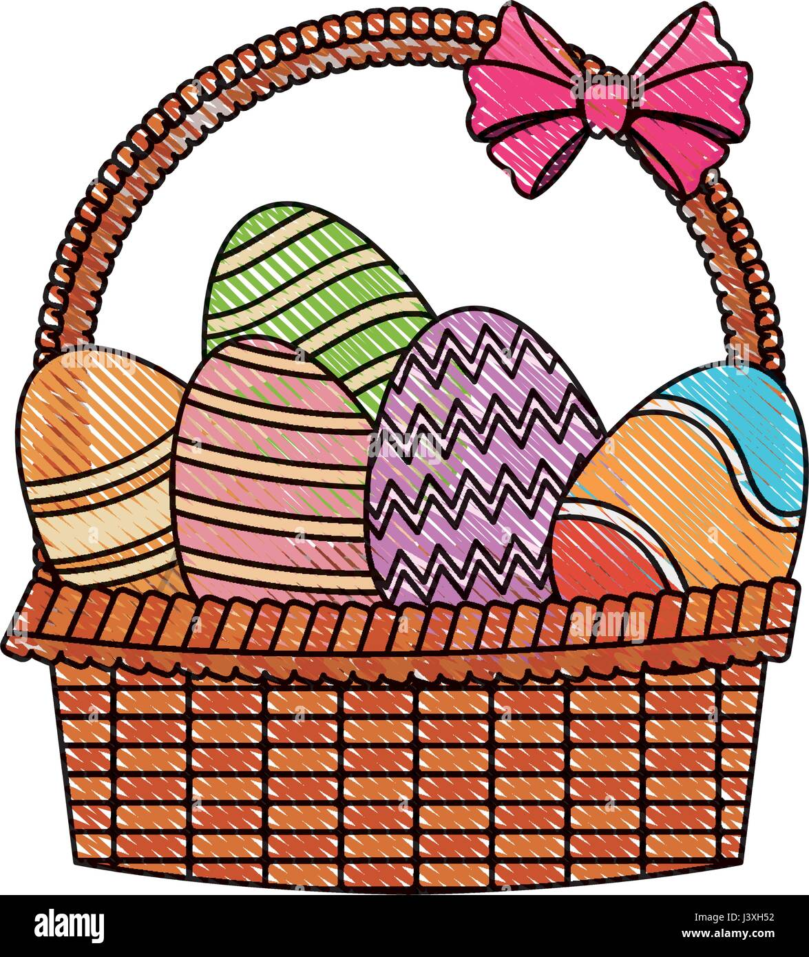 Drawing Easter Basket With Egg Decoration Party