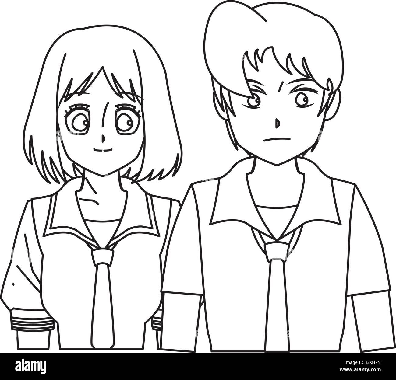 cartoon girl anime character outline stock photos cartoon girl