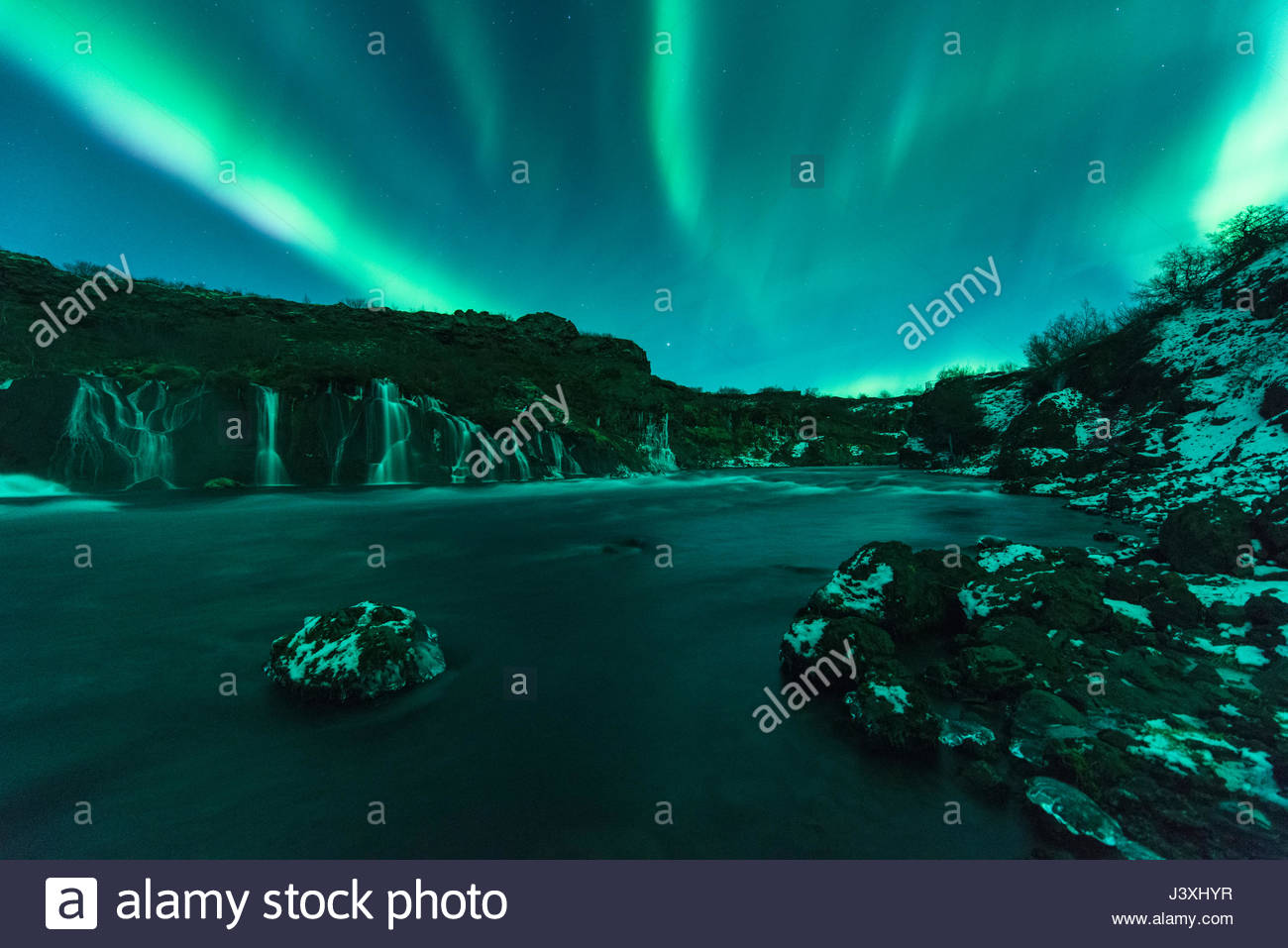 Northern Lights, Hraunfossar, Iceland - Stock Image
