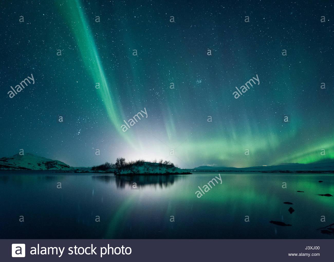Northern Lights, Thingvellir, Iceland - Stock Image