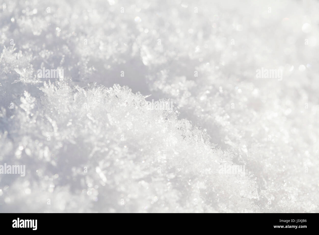 Close up of snow ice crystals - Stock Image