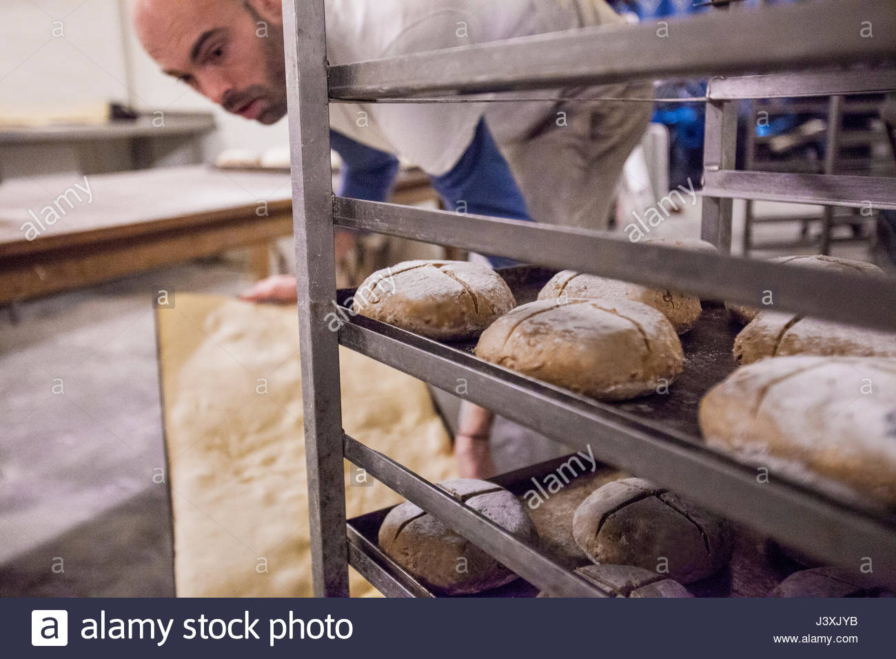 Baker putting tray of dough into rack in bakery - Stock Image