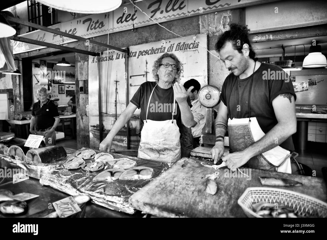 Reportage Photographs of Italian Mediterranean Food and Fish Market - Stock Image