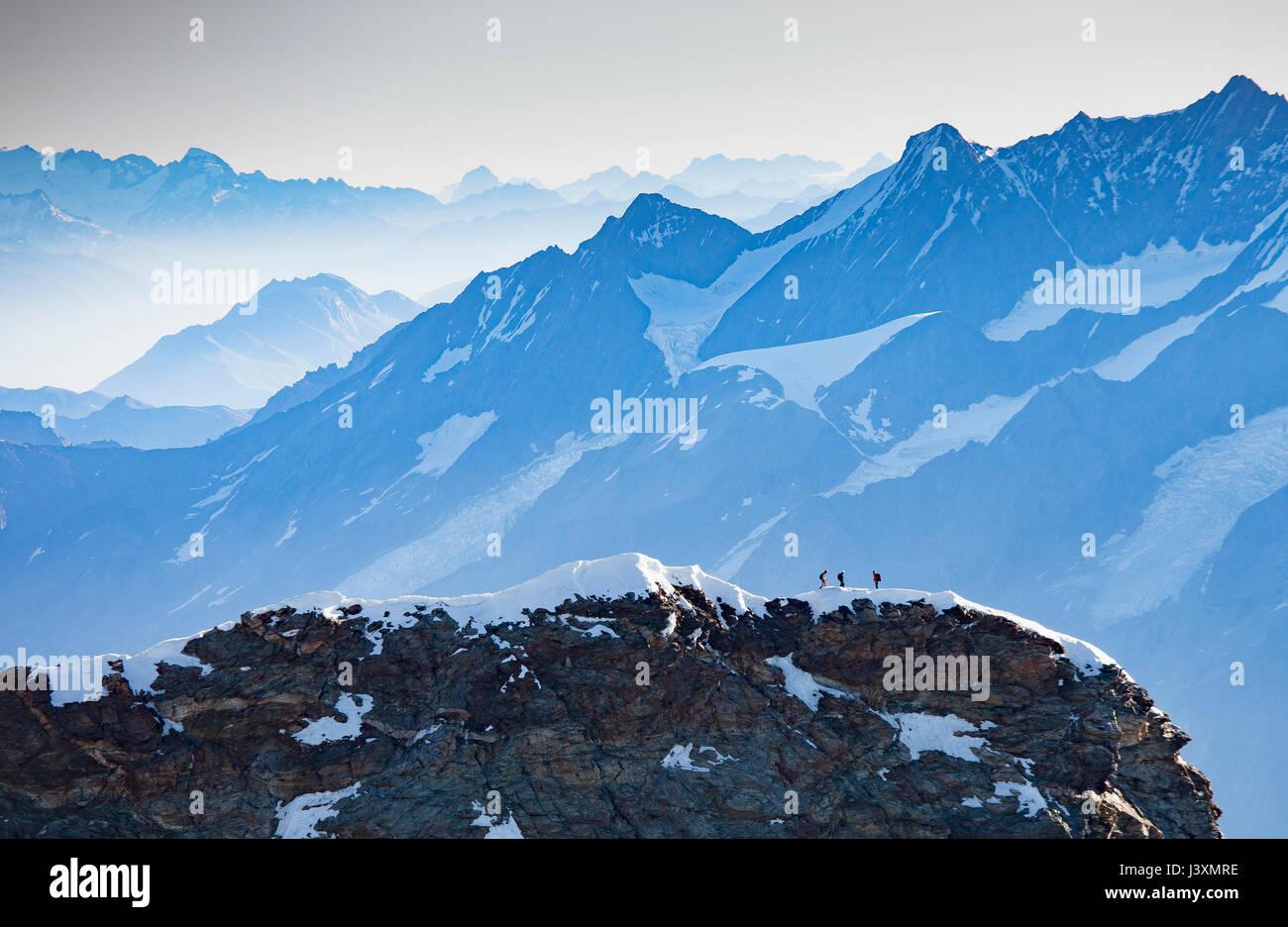 Snow covered mountain peaks, Monte Rosa Piedmont, Italy - Stock Image
