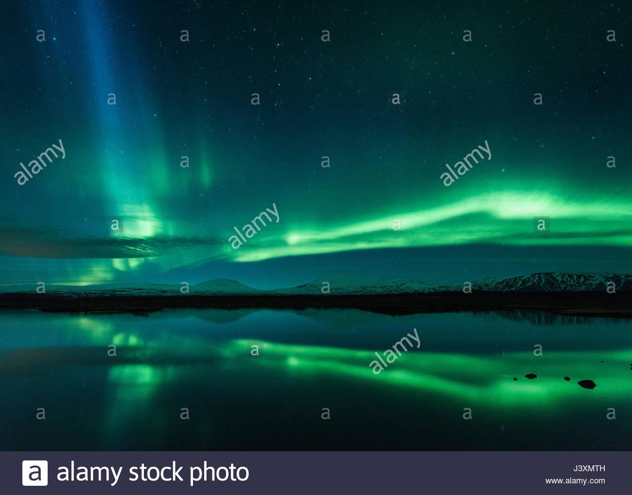 Aurora borealis, Thingvellir, Iceland - Stock Image