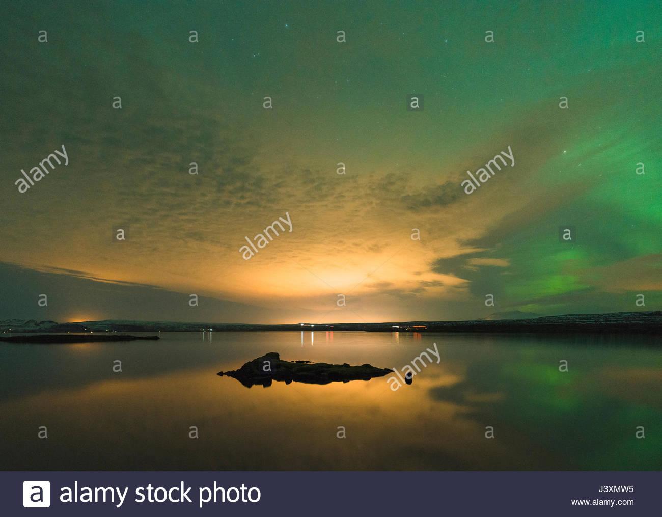 Sunset and aurora borealis, Thingvellir, Iceland - Stock Image