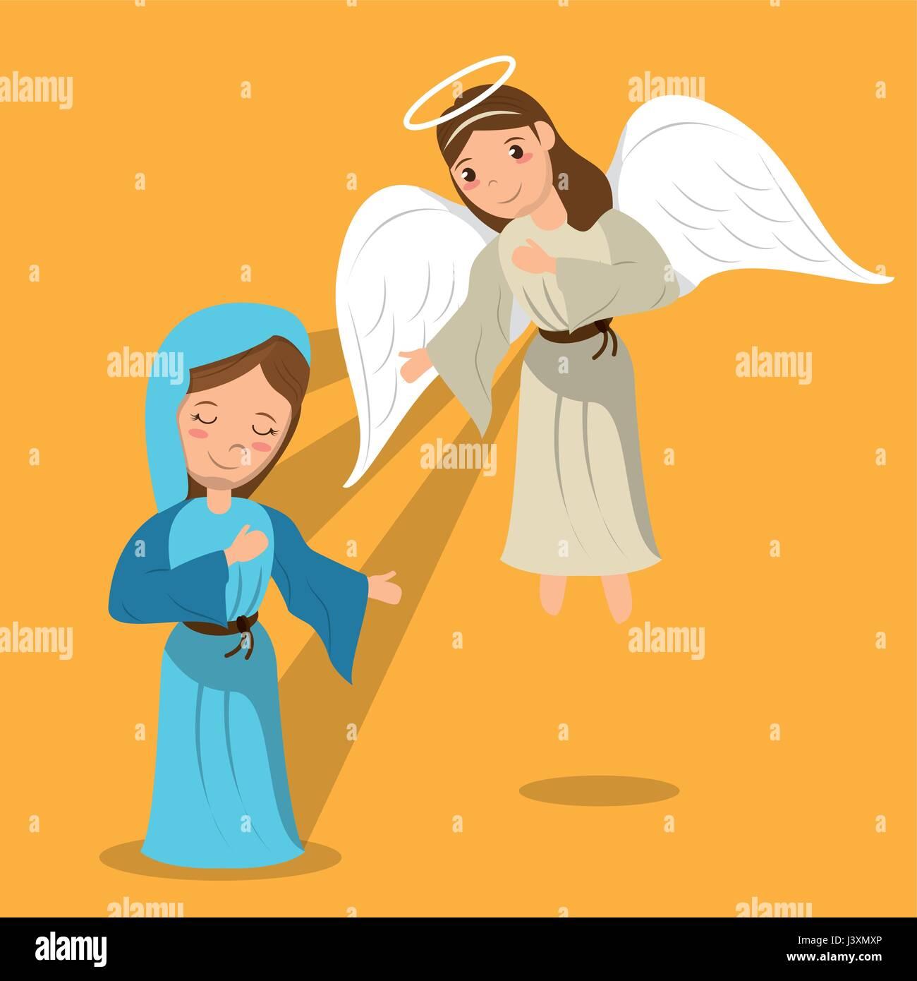 virgin mary with angel annunciation scene Stock Vector