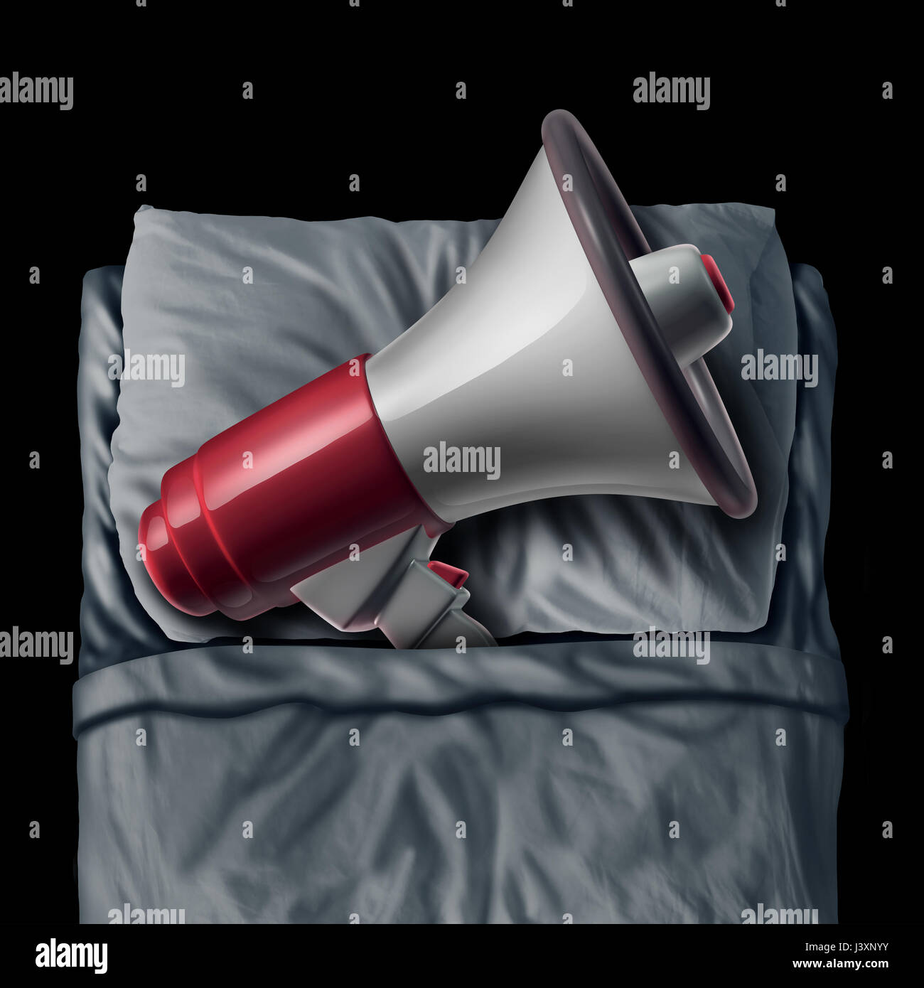 Snoring concept and sleep apnea sleeping problem causing loud bedtime noise as a megaphone or bullhorn resting on - Stock Image