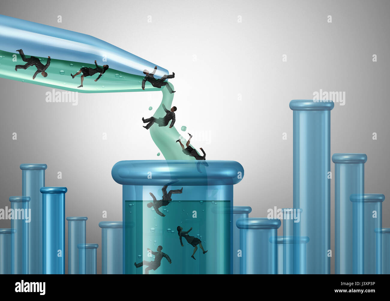 Human lab testing and clinical studies and trials concept as a scientific dropper pouring people in a beaker as - Stock Image