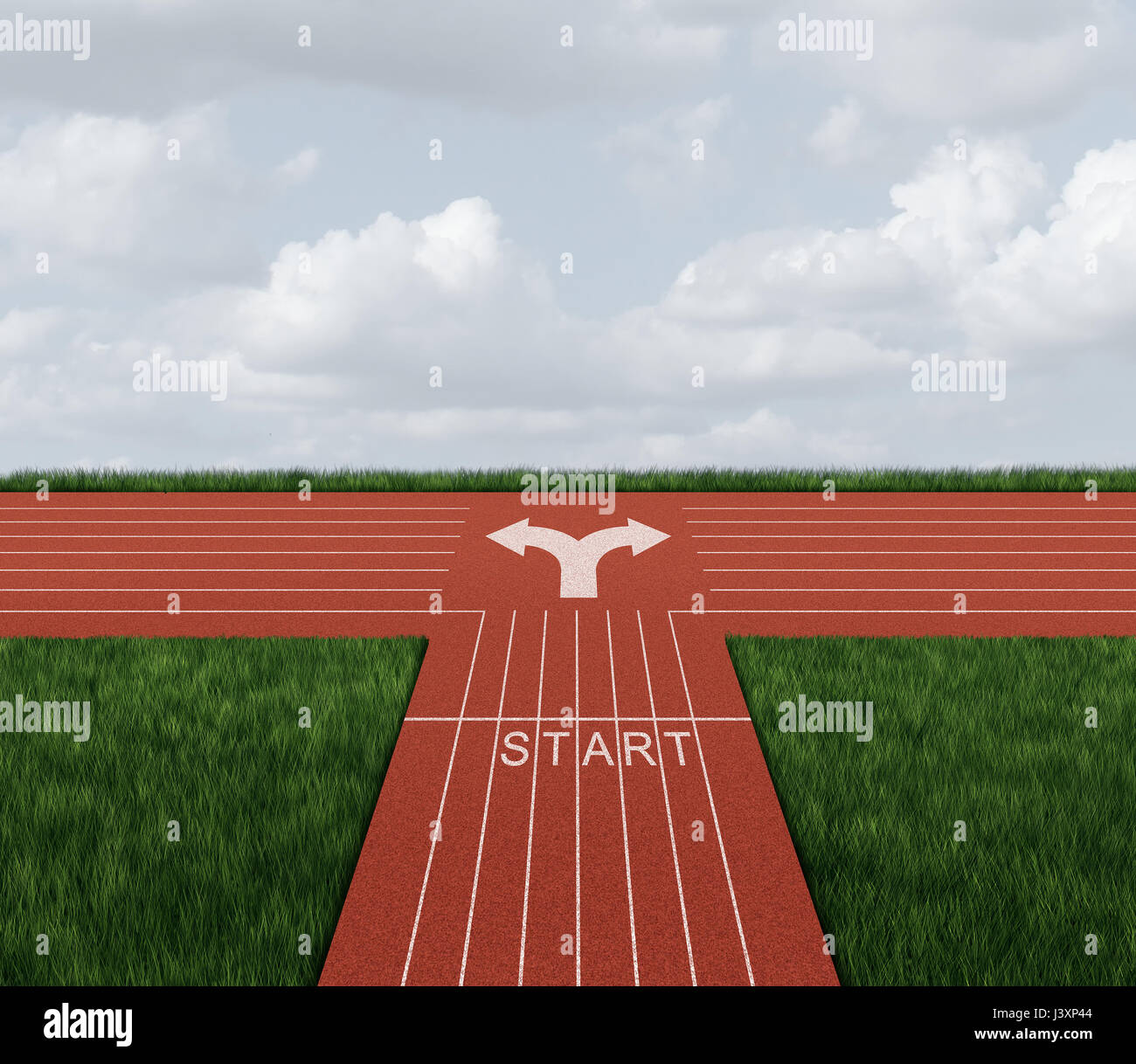 Direction race decision as a business confusion concept and career path metaphor with 3D illustration elements. - Stock Image
