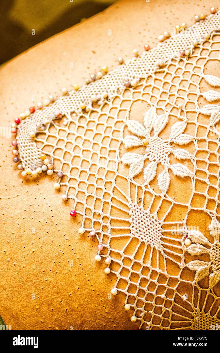 Bobbin lace made by artisans in Santo Antonio de Lisboa district. Florianopolis, Santa Catarina, Brazil. - Stock Image