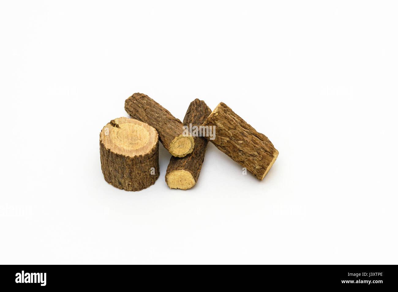 Dried sticks of Licorice or Liquorice (Glycyrrhiza glabra) root - Stock Image