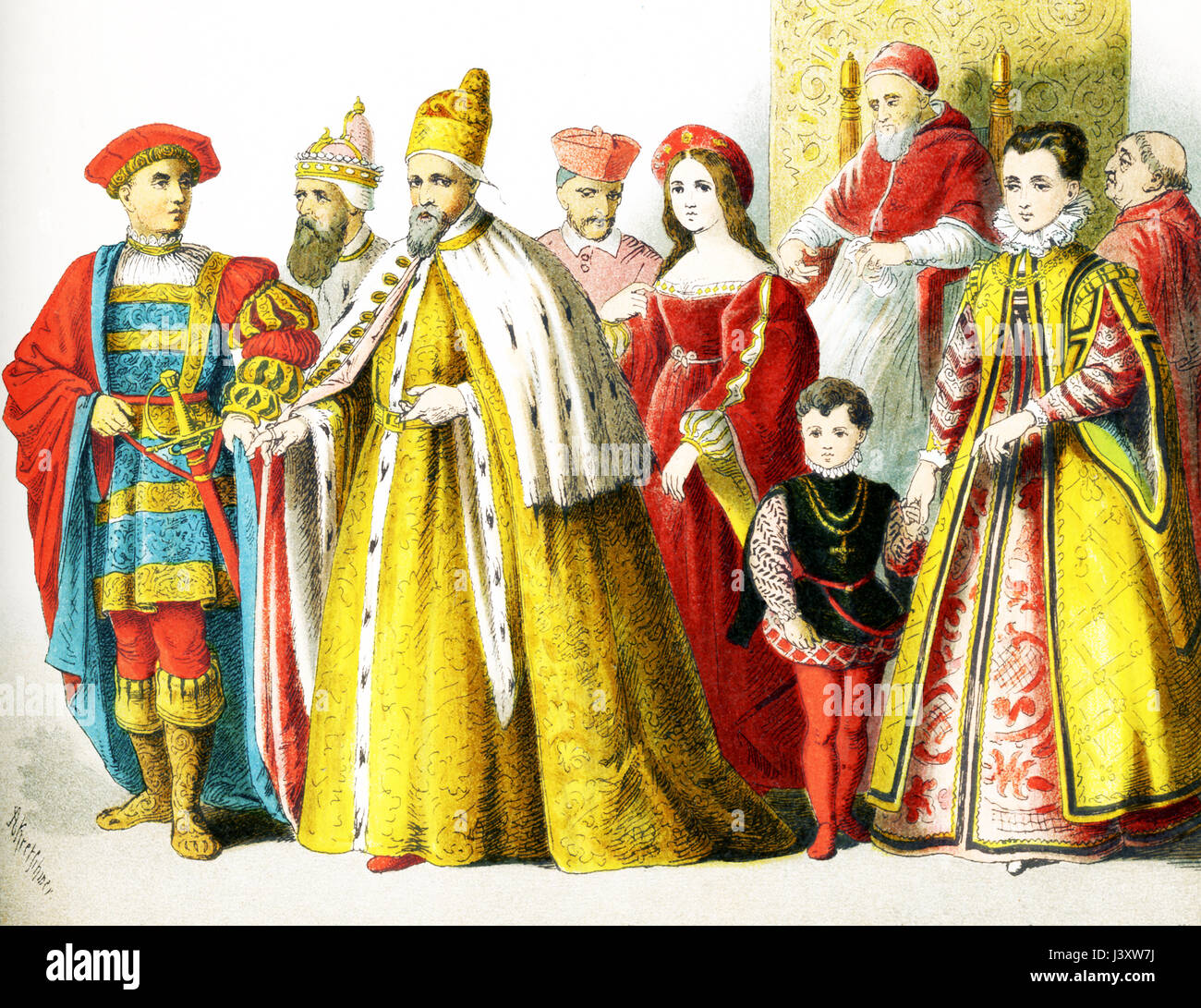 The figures pictured here represent Italians around 1500 A.D. They are from left to right:  man of rank, Doge of - Stock Image