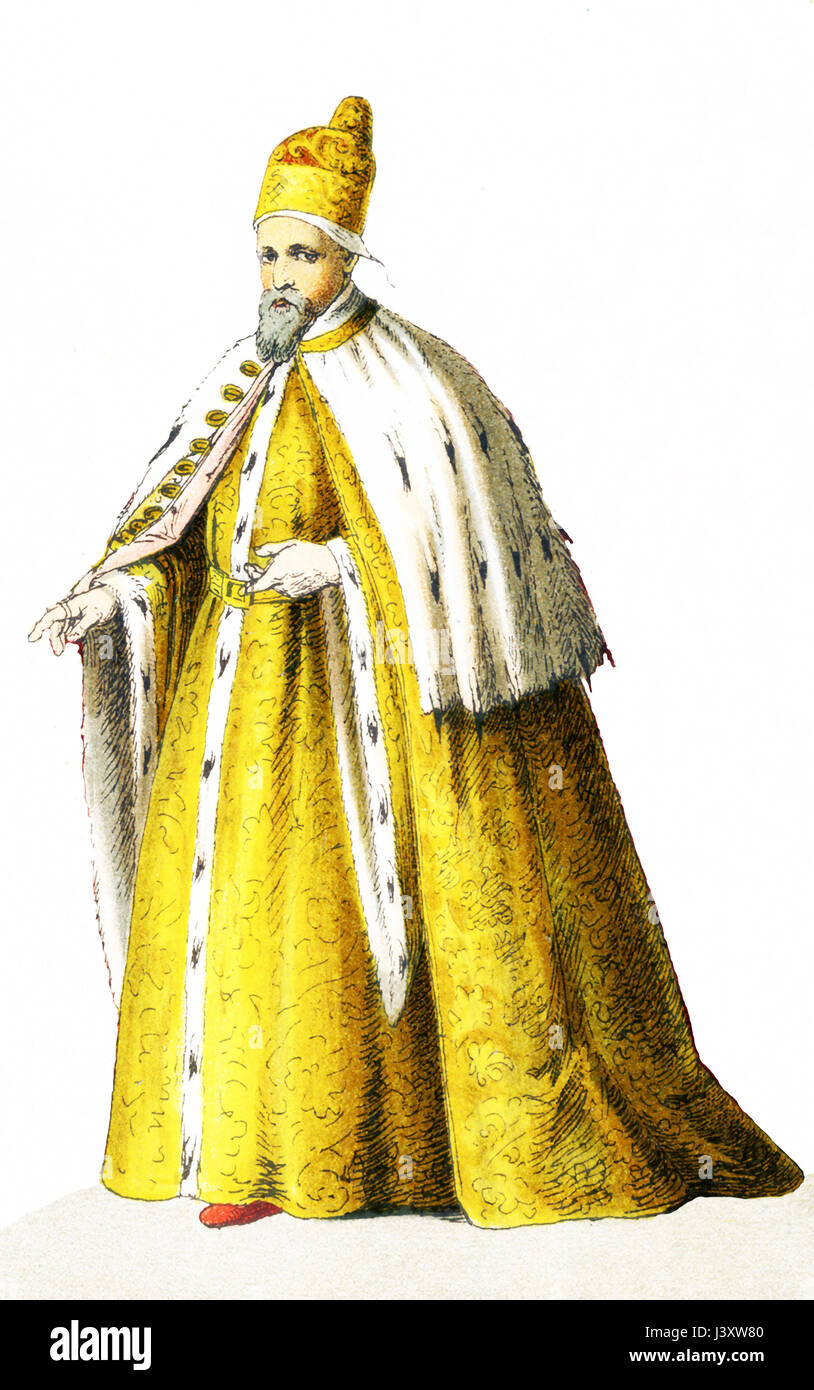 The figure pictured here represents the Doge of Venice in 1500 A.D. He is Agostino Barbarigo. The illustration dates - Stock Image