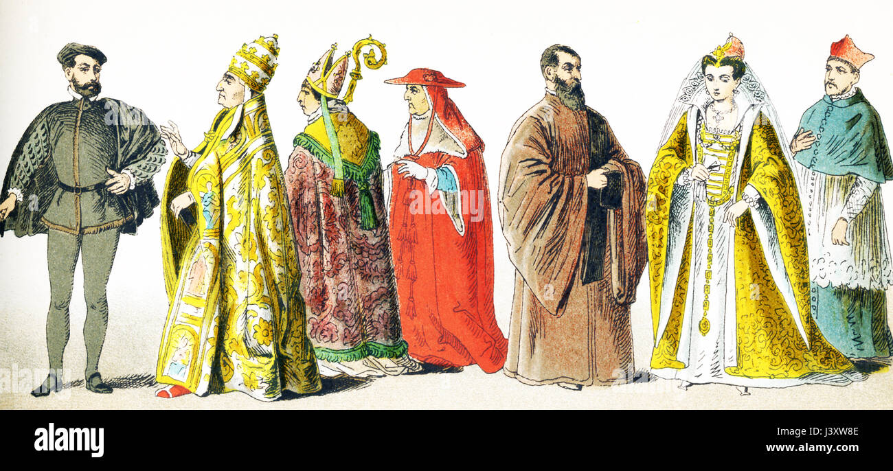 The figures pictured here represent Italians around 1500 A.D. They are from left to right: man of rank, Pope in - Stock Image