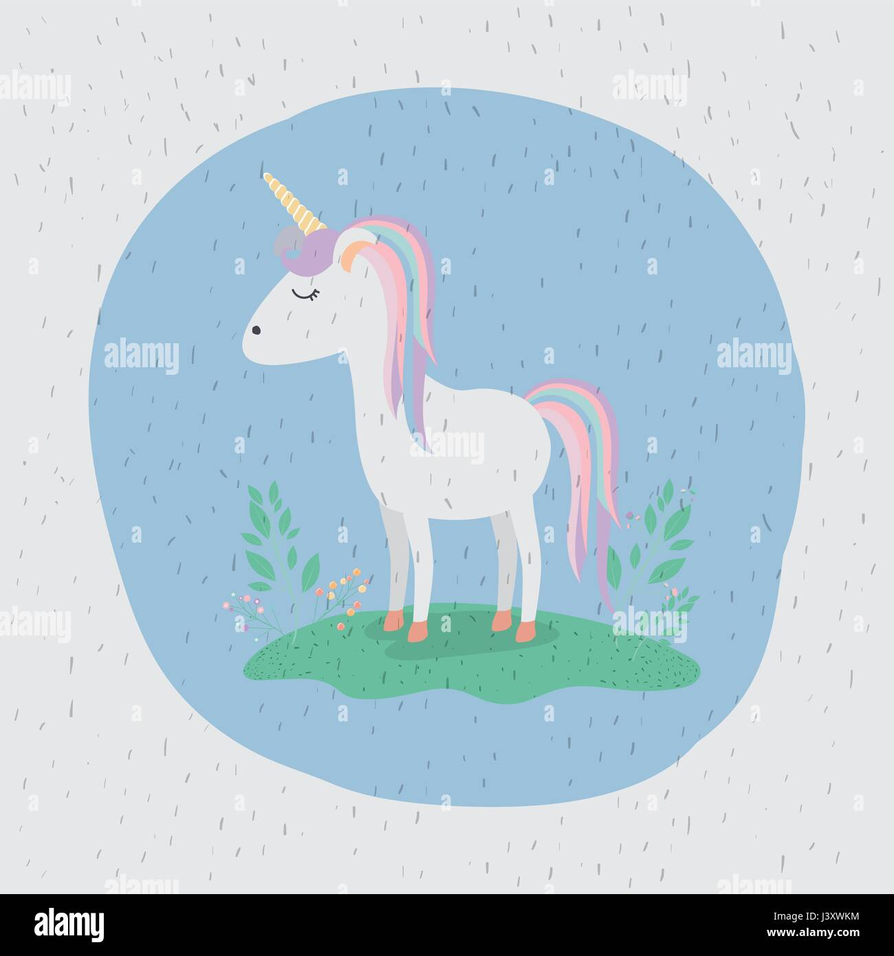 colorful background with unicorn standing with rainbow colors in mane and tail Stock Vector