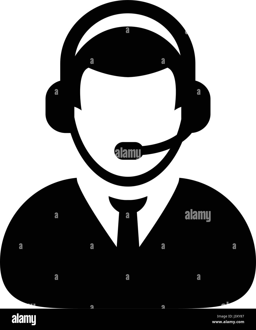 a01ac94c25 Customer Care Service   Support Icon - Vector Person Avatar With Headphone  in Glyph Pictogram Symbol illustration