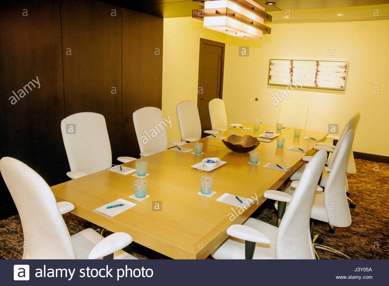 Miami Florida Epic Hotel luxury boutique lodging hospitality conference meeting room decor business office chairs white leather & Miami Florida Epic Hotel luxury boutique lodging hospitality Stock ...