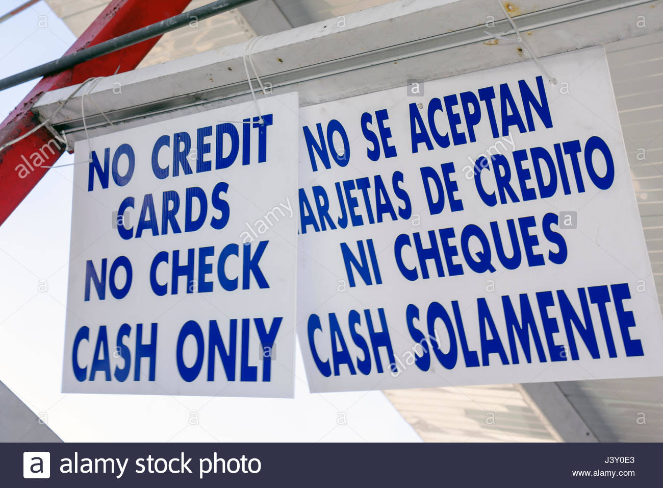 Miami Florida business sign cash only no credit card no checks Stock ...