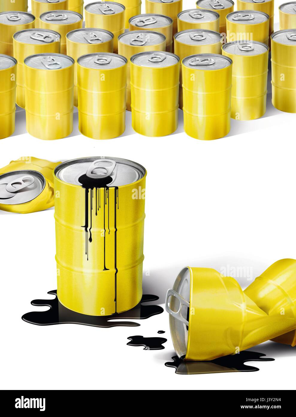 Yellow cans with black liquid - Stock Image