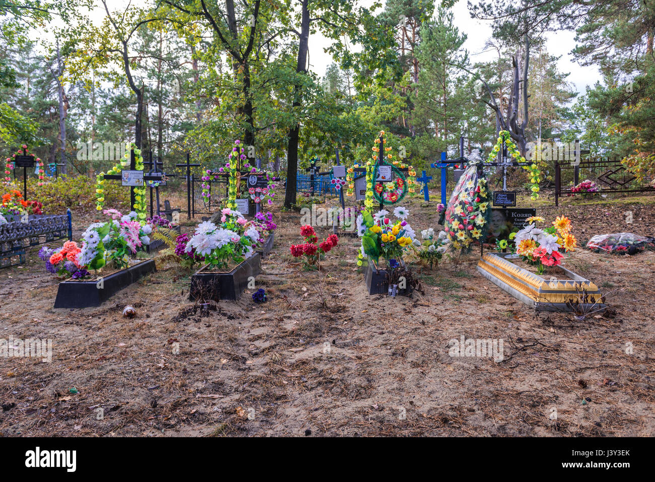 Cemetery in Kupuvate village of Chernobyl Nuclear Power Plant Zone of Alienation around nuclear reactor disaster - Stock Image