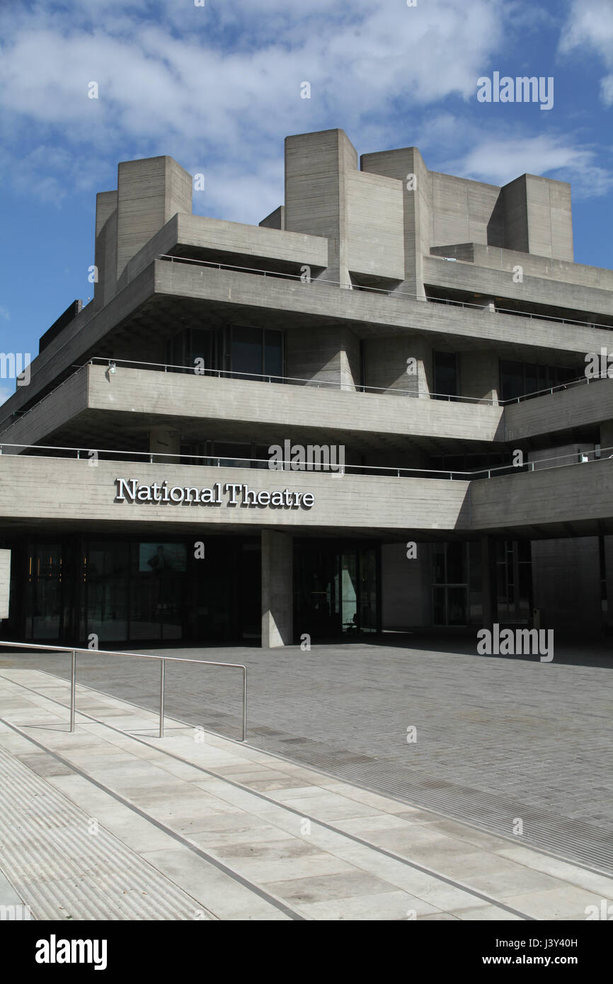 London, England, 22 April 2017 - National Theatre, Southbank of River Thames Stock Photo