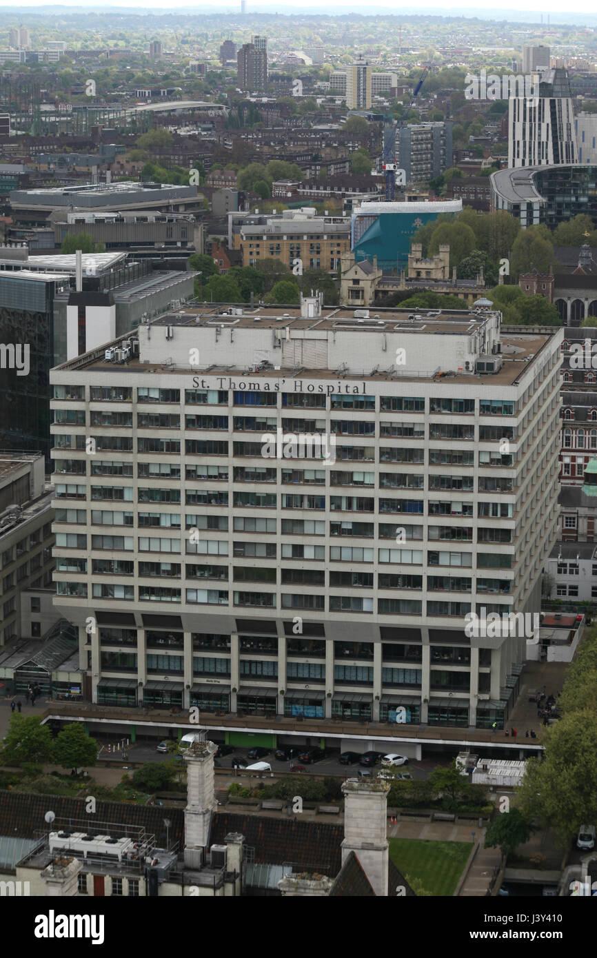 London, England, 22 April 2017 - St Thomas' Hospital, Southbank of River Thames Stock Photo