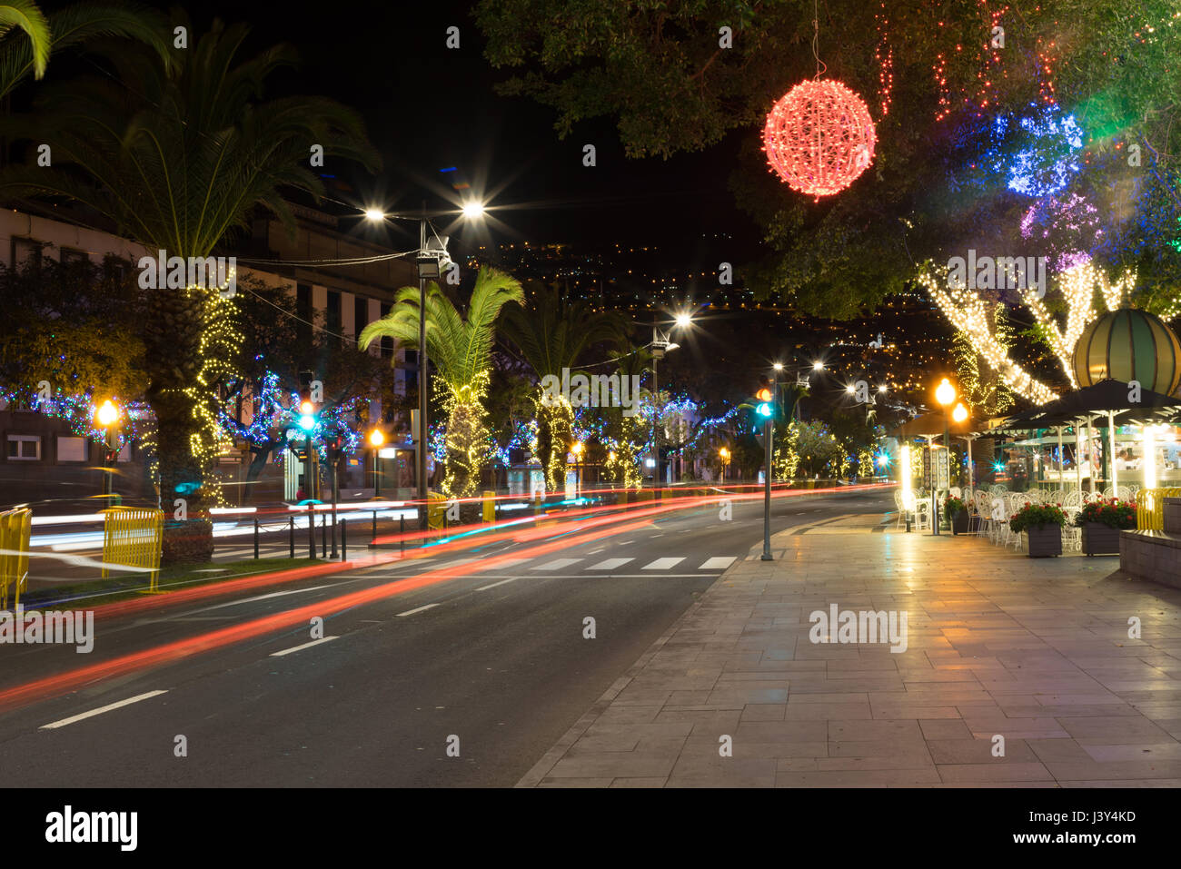Festival street lights on Avenida do Mar, Funchal, Madeira Stock Photo