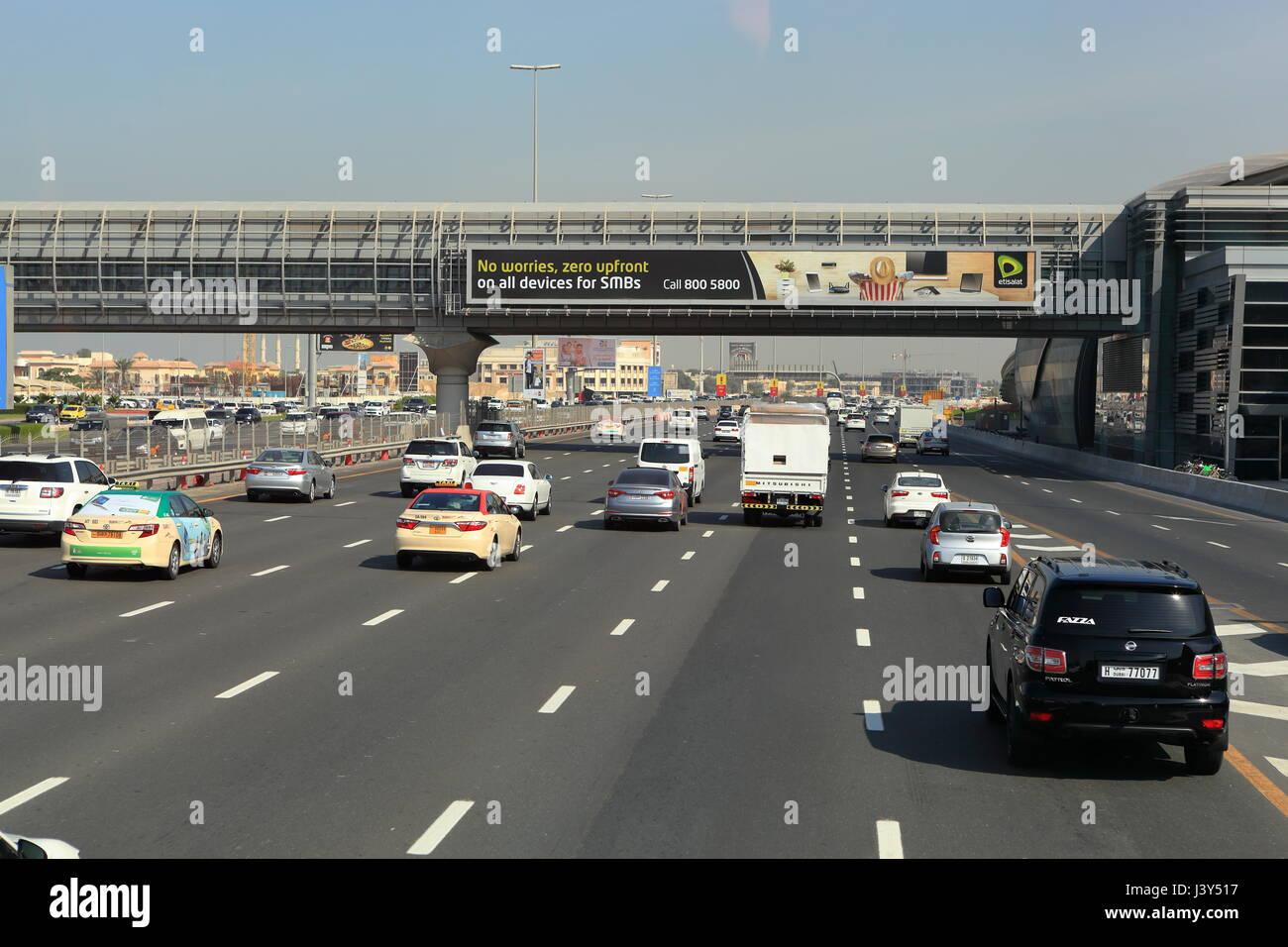 Traffic on the 12 lane highway in Dubai, United Arab