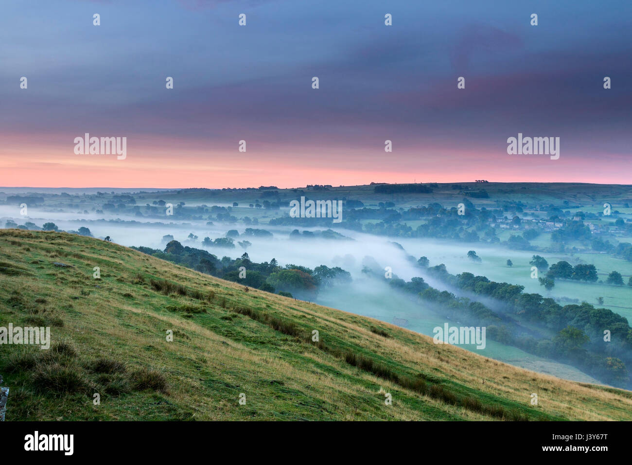 The View South Along the River Tees Towards Mickleton from the Whistle Crag Viewpoint Near Middleton-in-Teesdale, - Stock Image