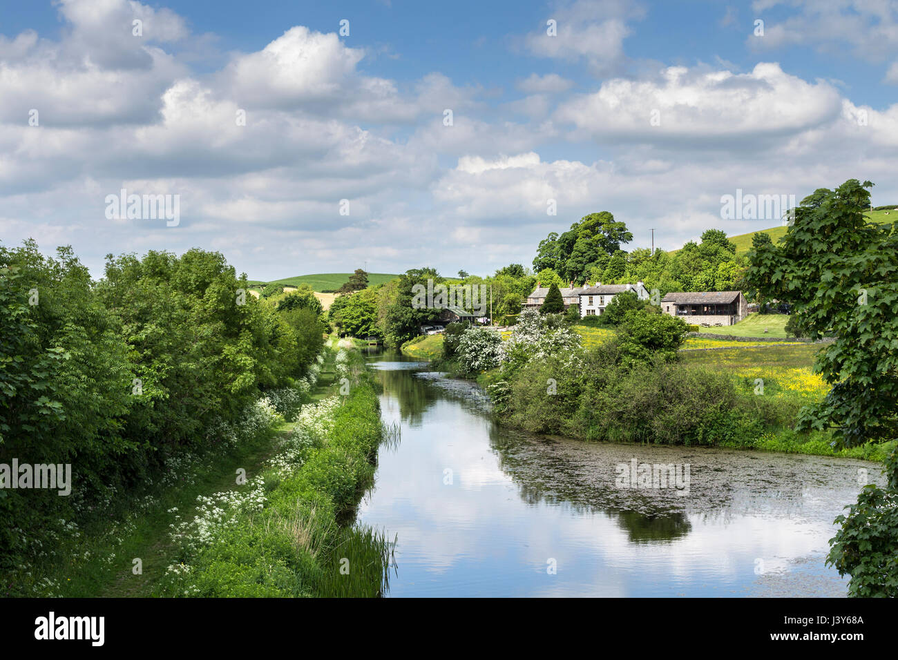 The Lancaster Canal at Dove Houses (Bridge 161) on the Lakes and Dales Loop Cycle Way, Lancashire England UK - Stock Image