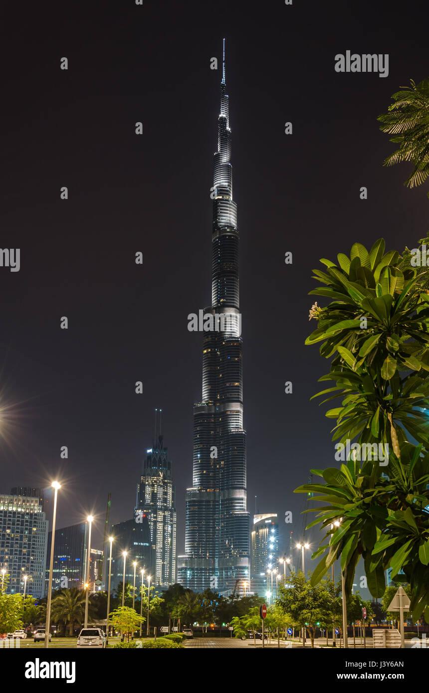 DUBAI, UNITED ARAB EMIRATES - APRIL 13, 2017: Burj Khalifa tower