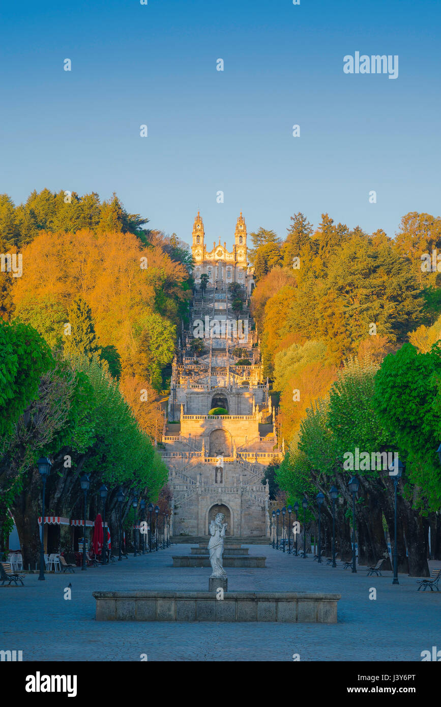 Lamego Portugal stairs, view at sunrise of the Baroque stairway leading to the church of the Nossa Senhora dos Remedios - Stock Image