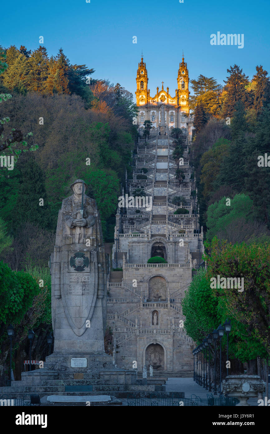 Lamego Portugal stairs, view at dawn of the Baroque stairway leading to the church of the Nossa Senhora dos Remedios - Stock Image