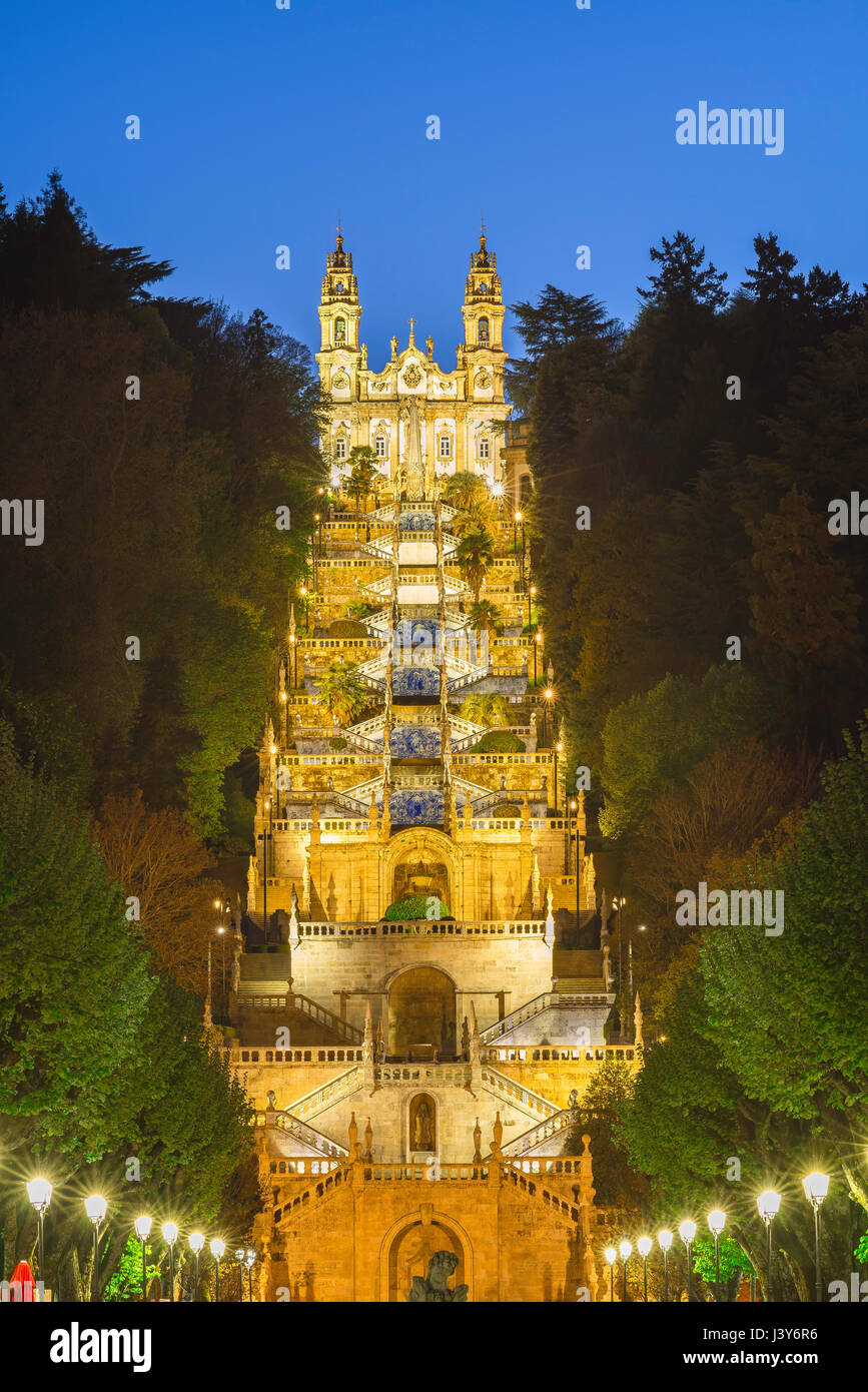 Lamego Portugal stairs, view at night of the Baroque stairway leading to the church of the Nossa Senhora dos Remedios - Stock Image