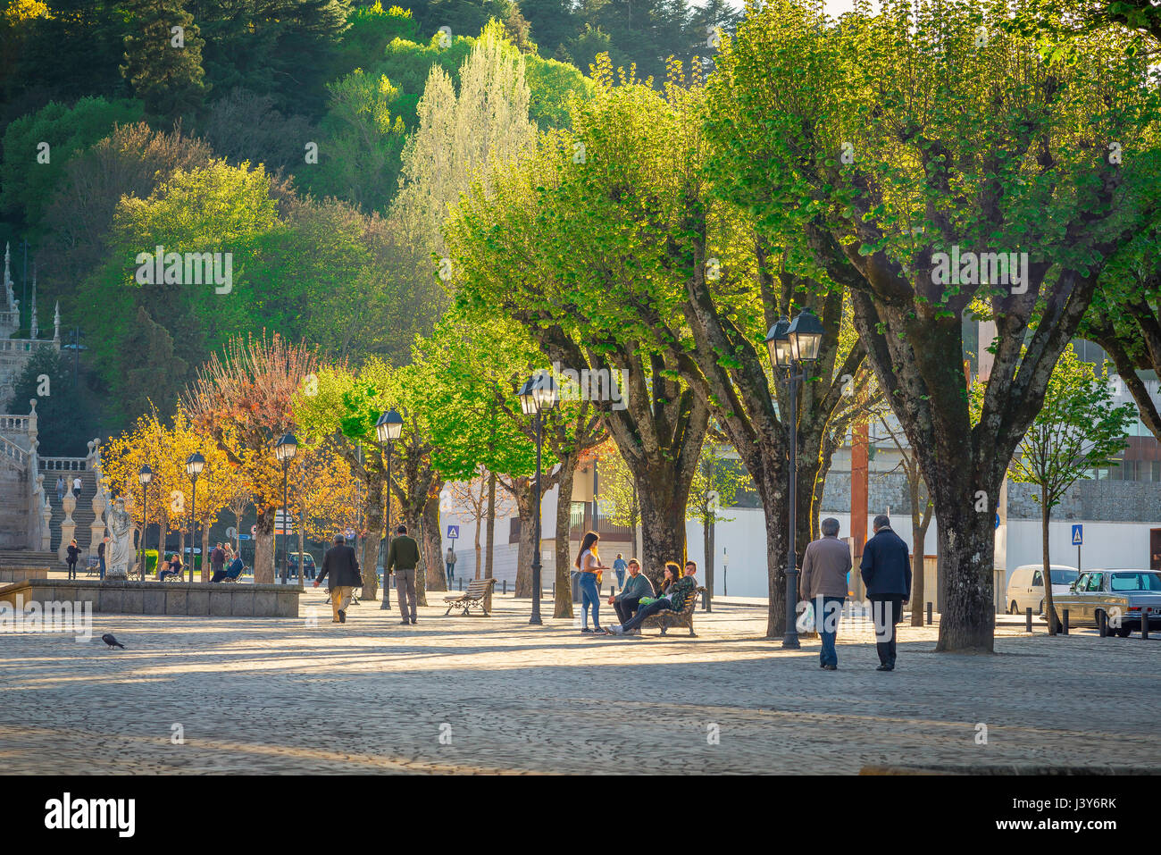 Lamego Portugal center, view along the Avenida Dr A de Sousa on a summer evening in the town of Lamego in Portugal. - Stock Image