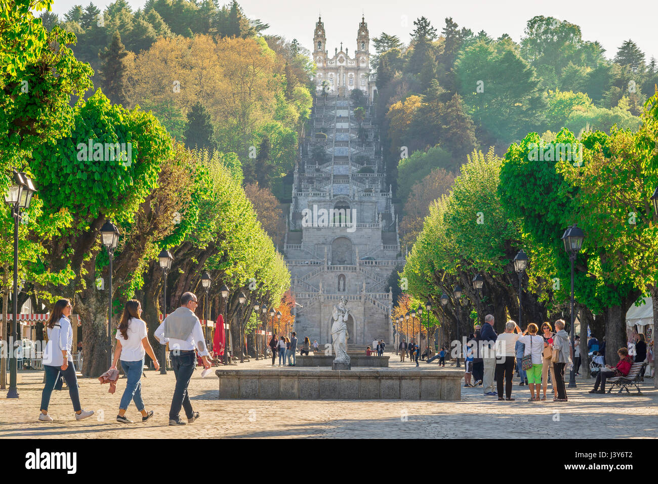 Lamego Portugal center, view along the Avenida Dr A de Sousa towards the Baroque stairway leading to the Nossa Senhora - Stock Image