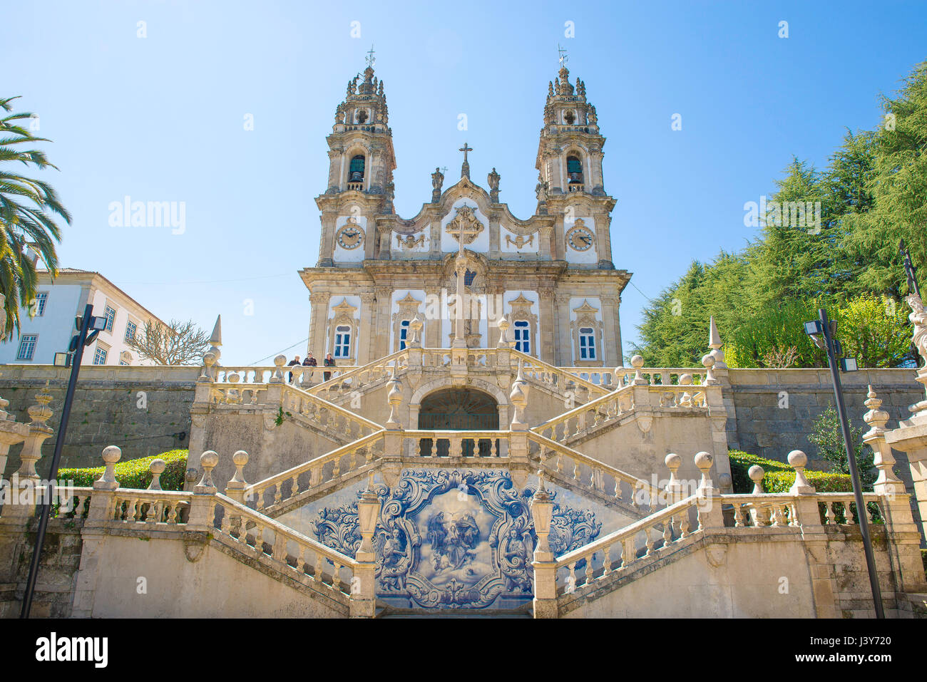 Lamego Portugal, the church of Santuario de Nossa Senhora dos Remedios at the summit of the 686 step Baroque staircase - Stock Image