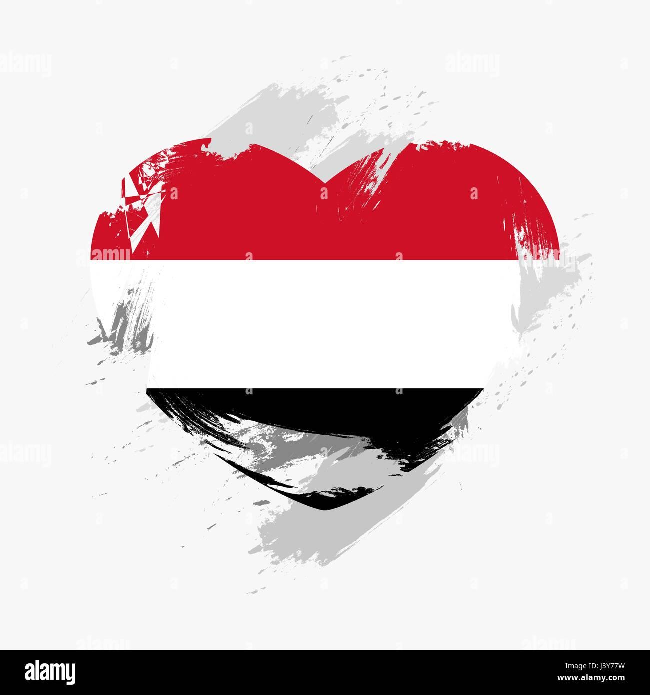 Flag of Yemen isolated on grunge heart. Vector illustration Stock Vector