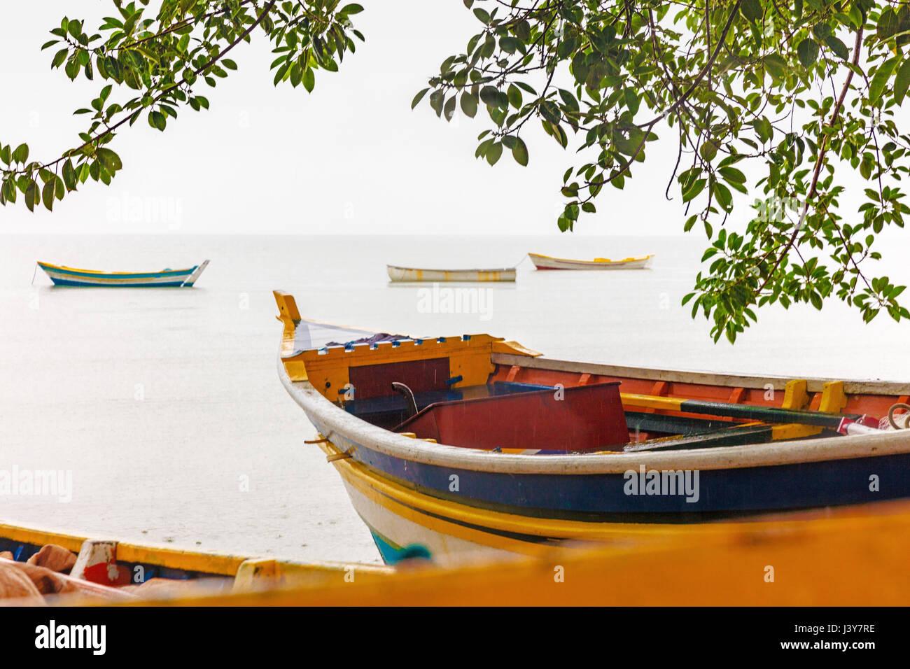 Colourful fishing boats be sea, Florianopolis, Santa Catarina, Brazil - Stock Image